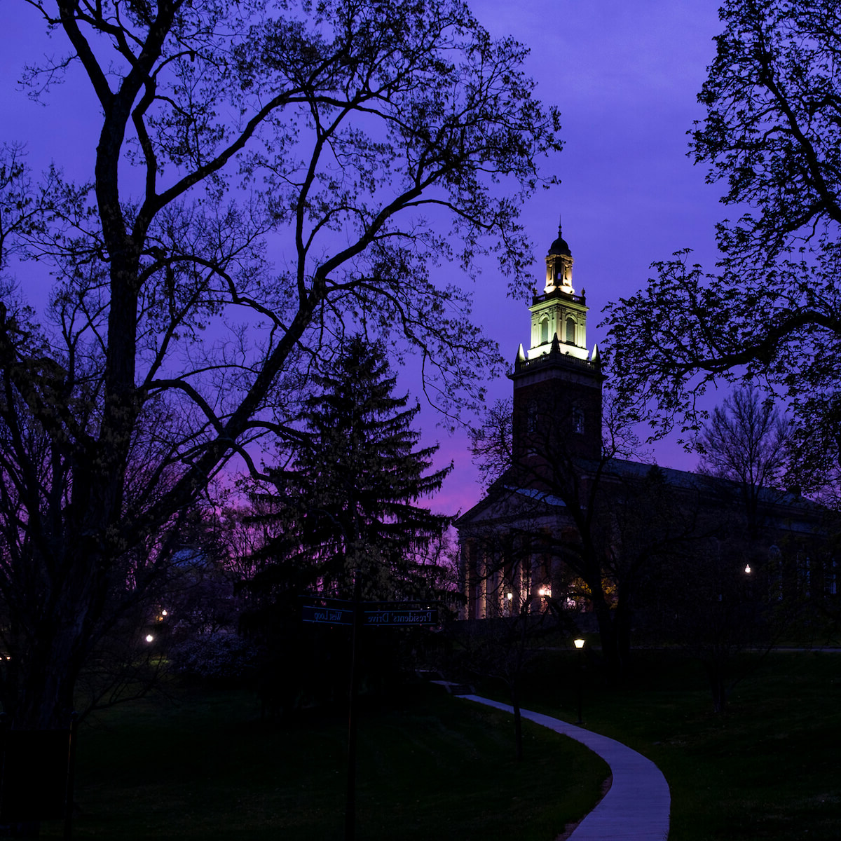 Swasey Chapel at dusk