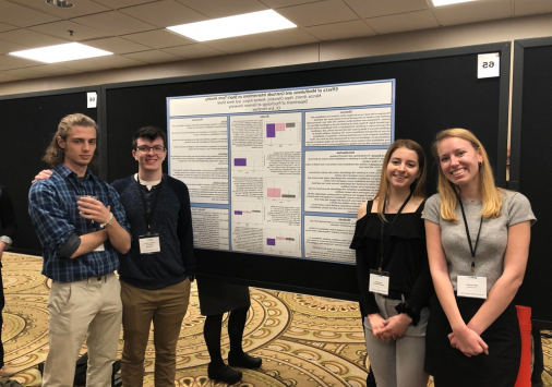 Psychology researchers Marcos Arnett '20, Hope Cherubini '21, Andrew Kopco '20, 和 Anna Stone '21