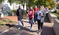 "Students participate in a ""Wellness Walk"" during Mindfulness Day"
